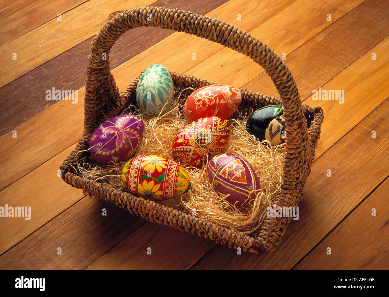 Ukrainian Easter eggs in a rustic straw filled Easter