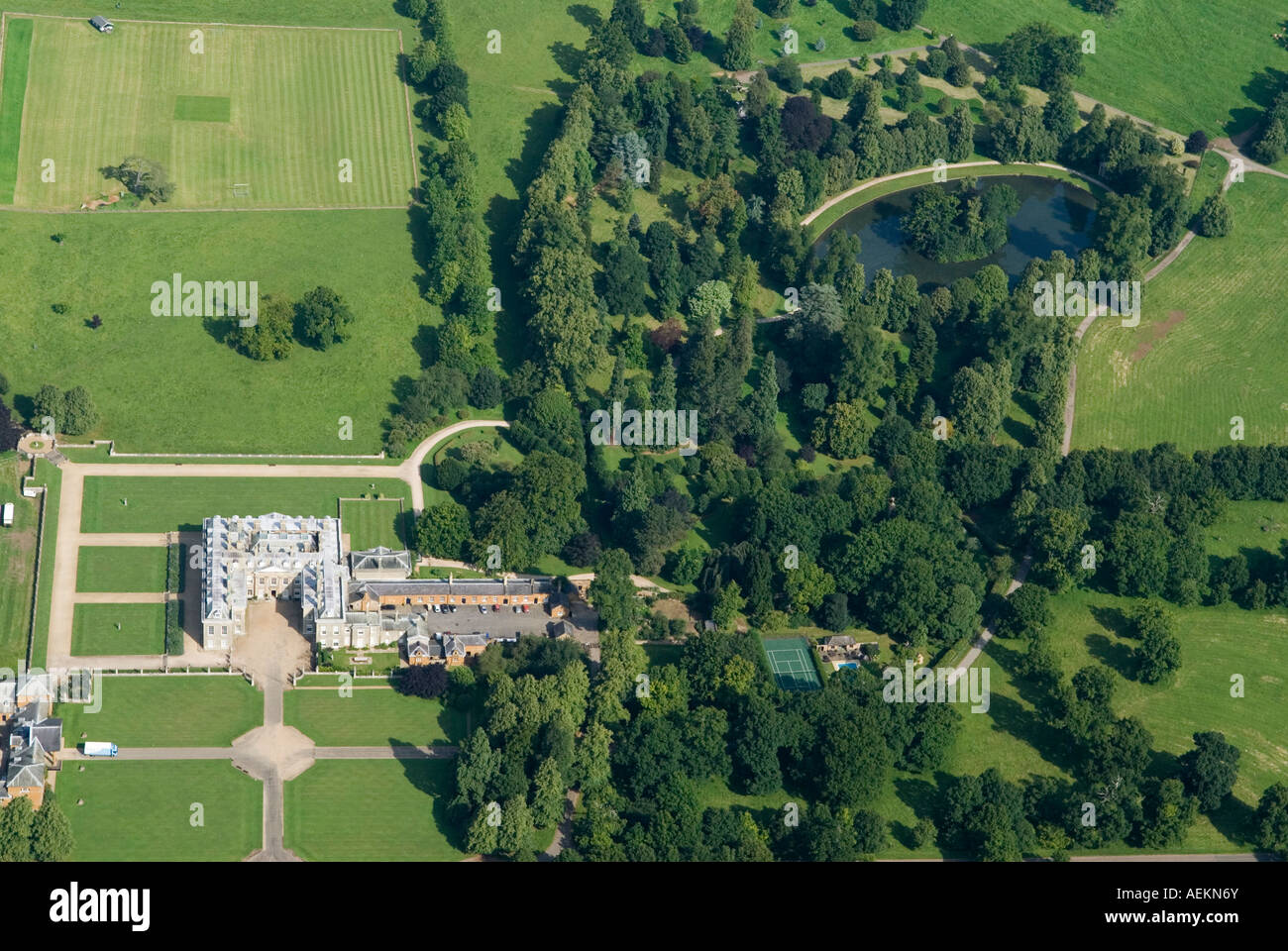 Aerial view of althorp house and the oval lake and island for See images of my house