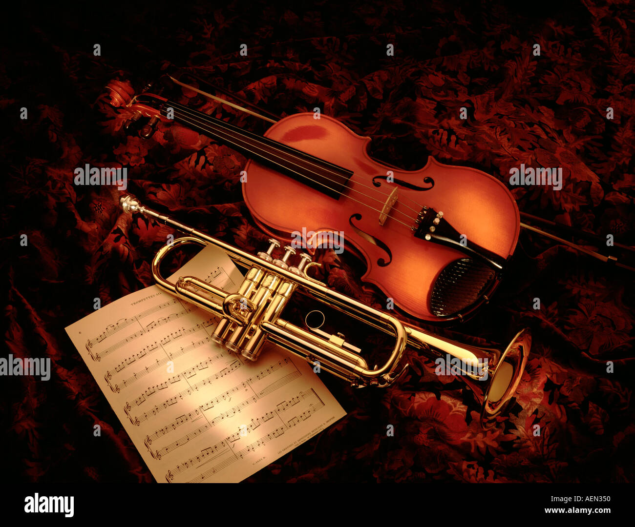 still life of musical instruments and sheet music Stock ...