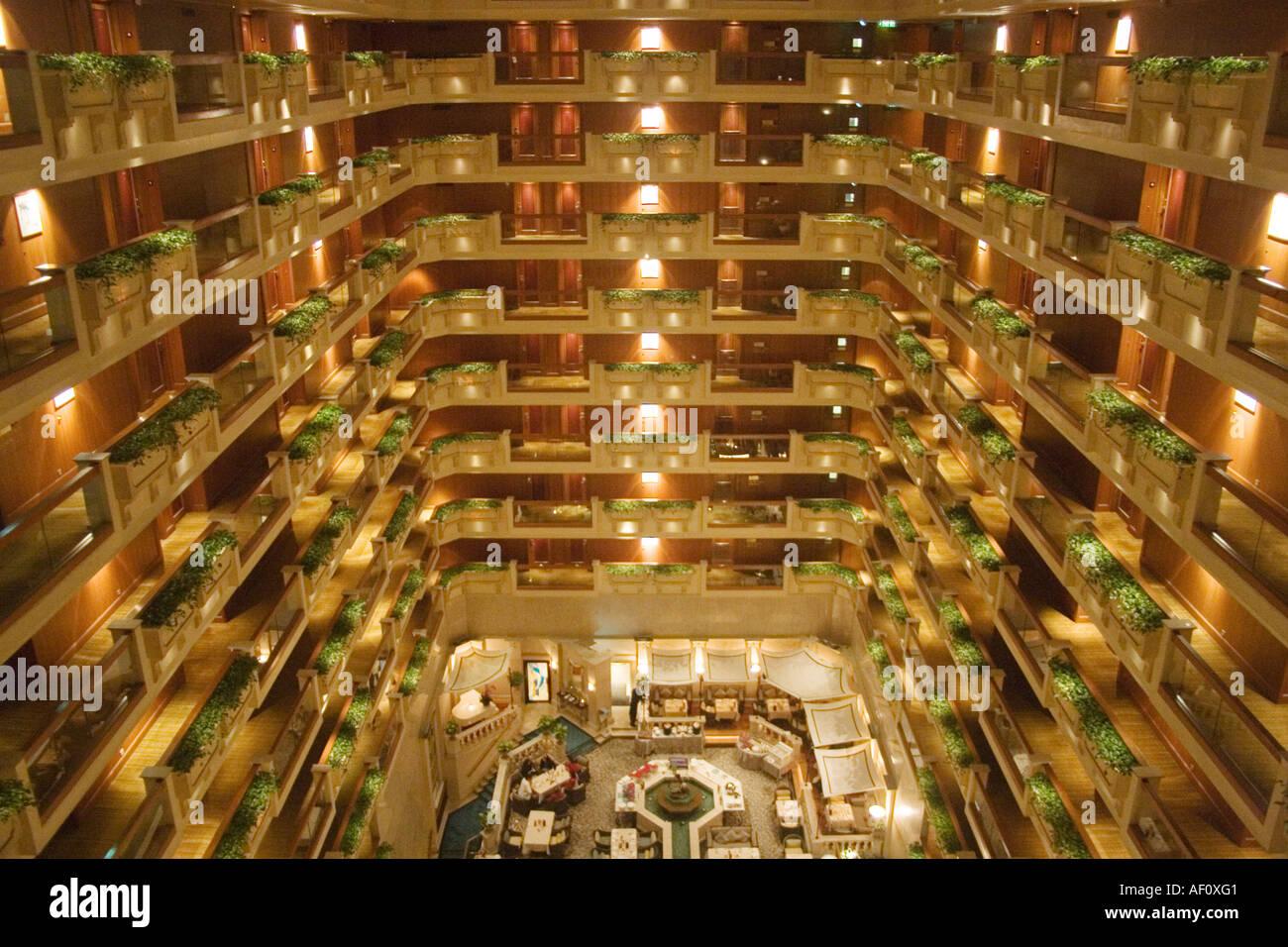 Interior Balconies In The Atrium At Hong Kong S Famous Royal Garden Stock Photo Royalty Free