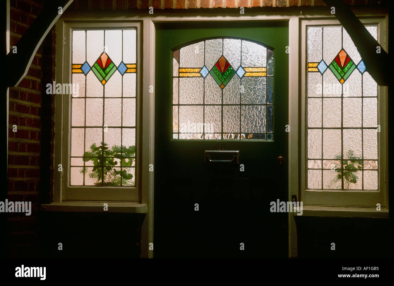 945 #A36728  Art Deco Stained Glass Front Door At Night British Housing London pic Front Doors Australia 41811300