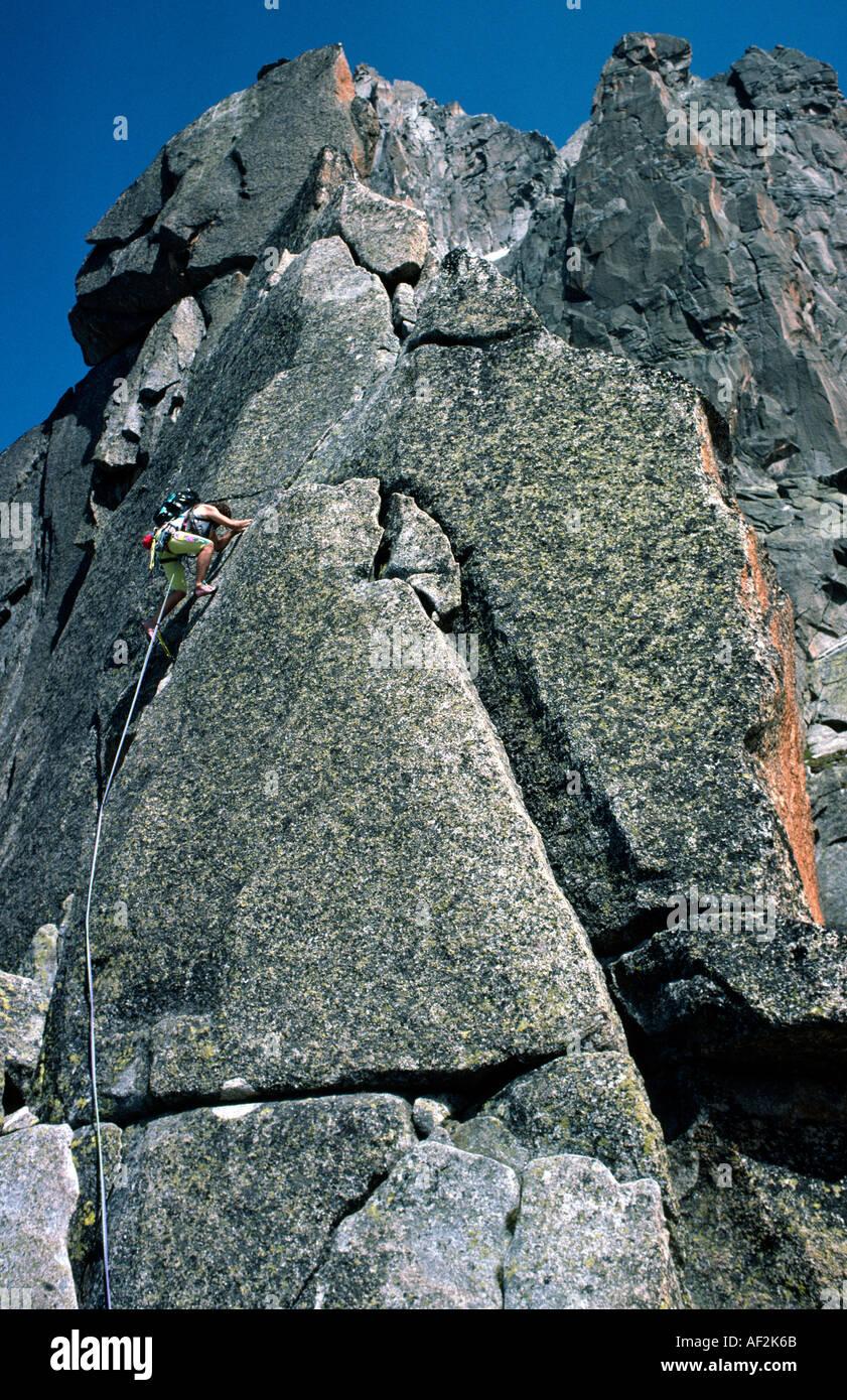 Rock climbing the Arete de Papillons Massif du Mont Blanc Chamonix France Stock Photo