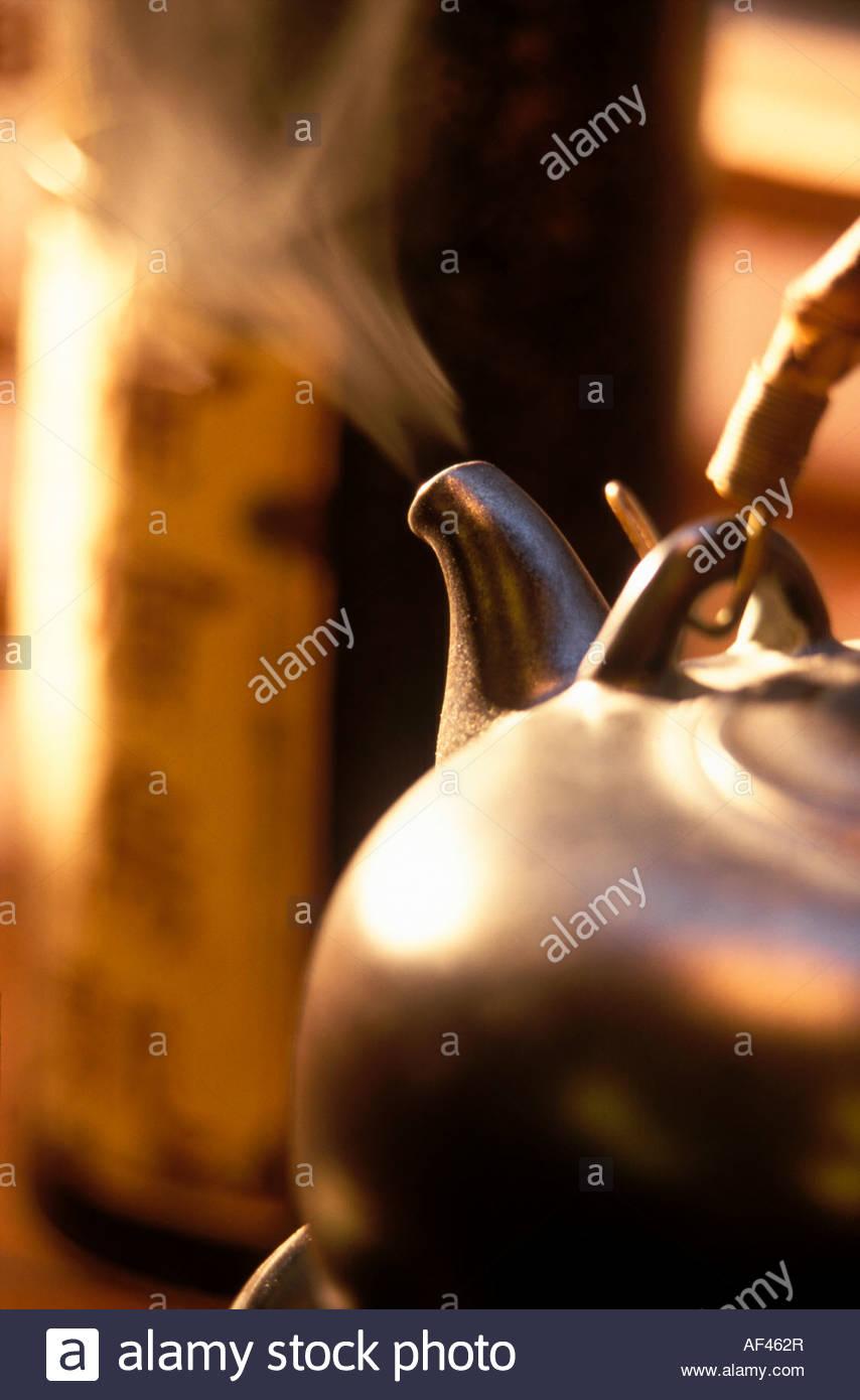Steaming Teapot Stock Photo