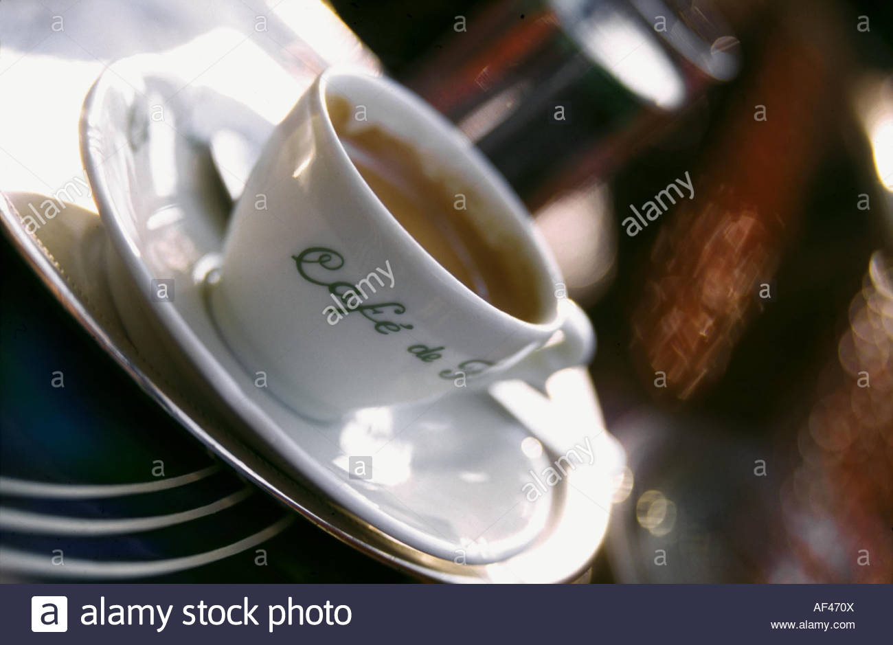 A cup of coffee on a table at the Café de Flore, Paris (1) Stock Photo
