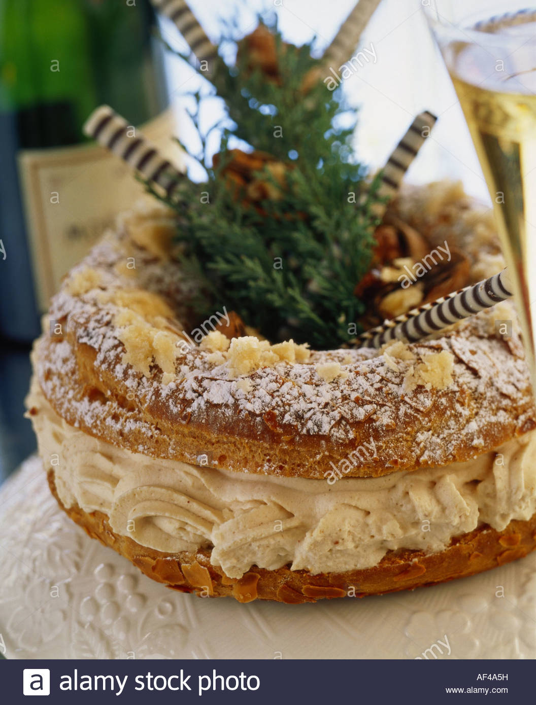 Paris Brest (choux pastry with mocha filling, France) Stock Photo