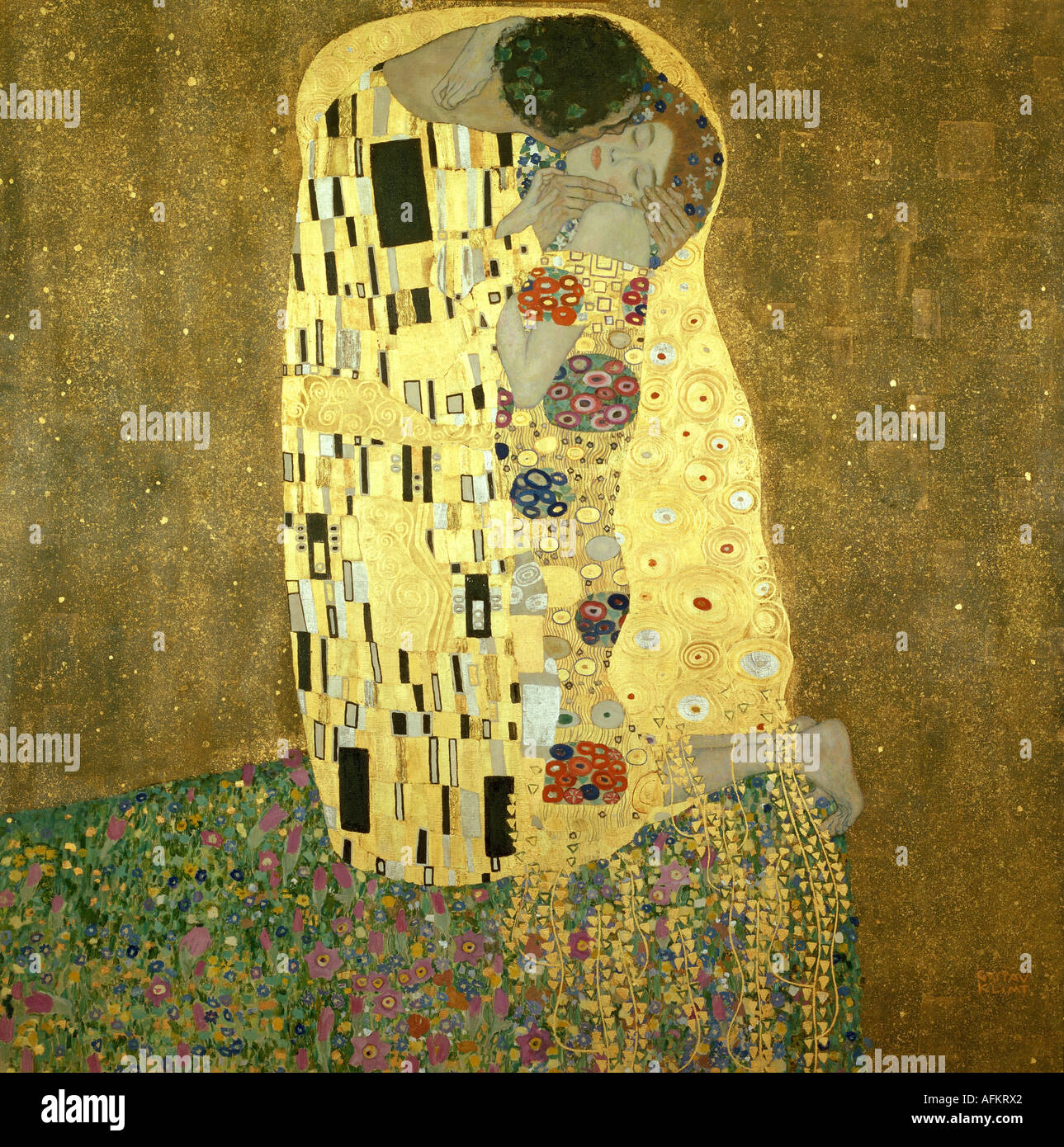 """fine arts, Klimt, Gustav, (1862 - 1918), painting, ""Der Kuss"", (""the kiss""), 1907 - 1908, oil, silver and gold Stock Foto"
