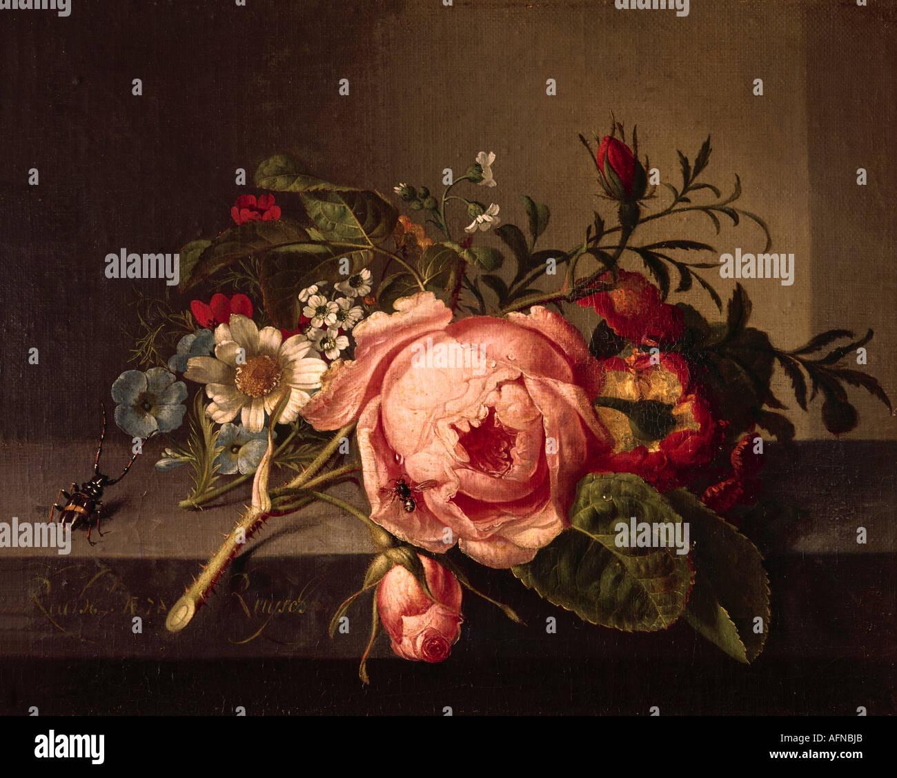 """""""fine arts, Ruysch, Rachel, (1664 - 12.8.1750), painting, """"Rosenzweig mit Käfer und Biene"""", Öffentliche Kunstsammlung, Stock Photo"""