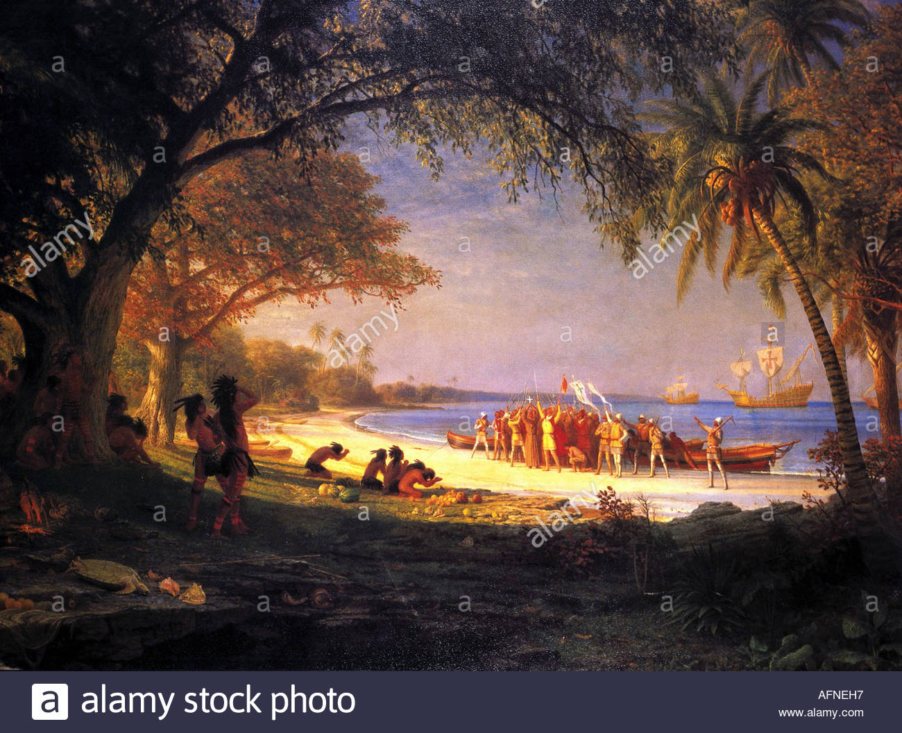 Columbus, Christopher, 1451 - 20.5.1506, Italian explorer, scene, arriving at Guanahani, 12.10.1492, history painting, Stock Foto