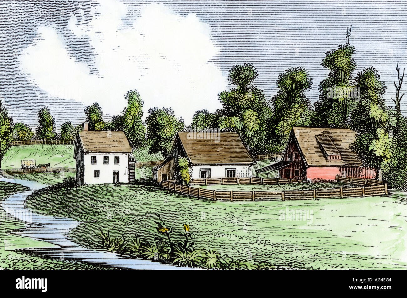 Shoemaker farm the first farm in Germantown Pennsylvania Colony 1700s Stock P