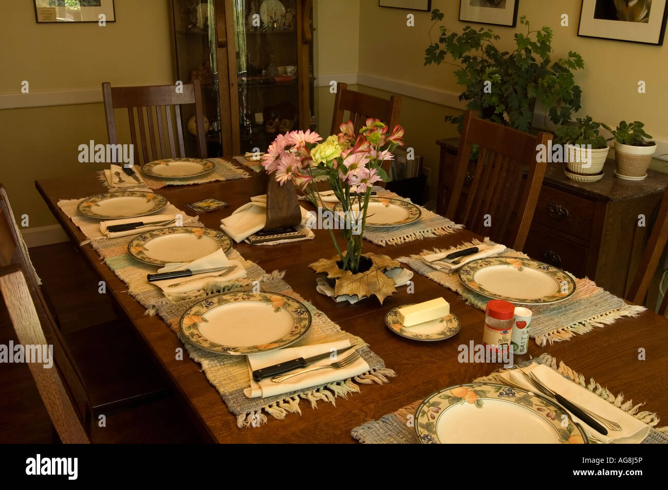 Dining Room Table Set Up For Meal Stock Photo Royalty  : dining room table set up for meal AG8J5P from www.alamy.com size 1300 x 954 jpeg 175kB