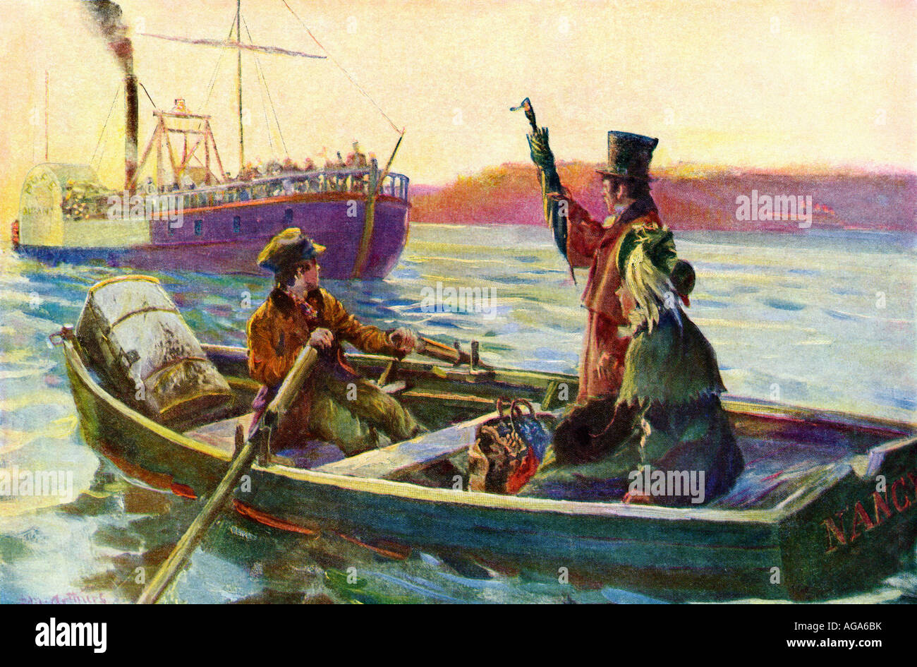 Passengers hailing a riverboat to board from a rowboat in mid stream early 1800s Stock Foto
