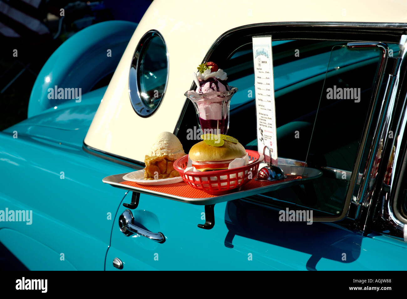Vintage Car With Food Tray In The Window Stock Photo
