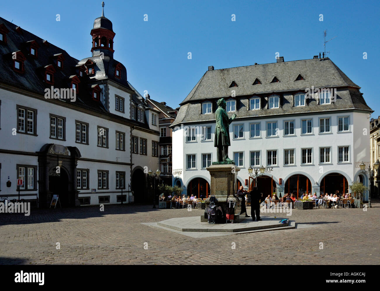 town hall and caf jesuit square in koblenz germany stock photo royalty free image 14232185. Black Bedroom Furniture Sets. Home Design Ideas