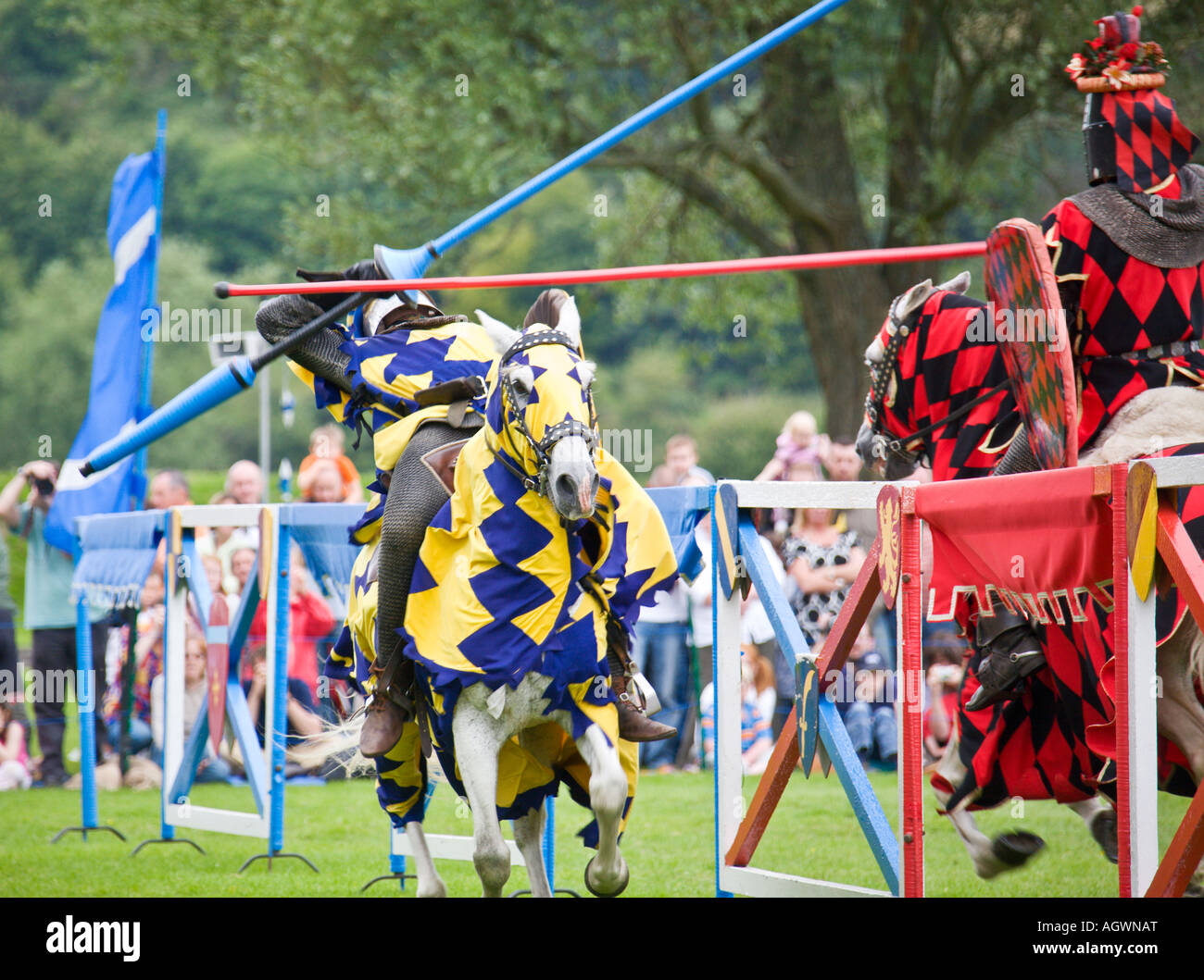 Medieval knight knocked off horse during jousting ...