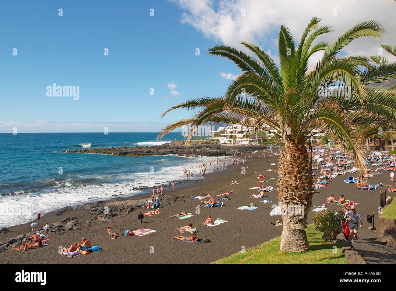 Playa de la arena puerto de santiago tenerife canary islands spain stock photo royalty free - Puerto santiago tenerife mapa ...