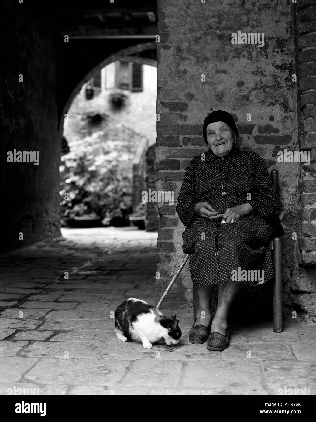 old italian woman with cat stock photo royalty free image