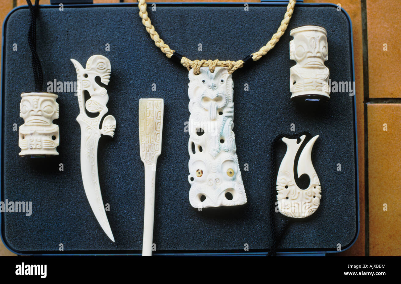 Bone carvings in the marquesas of french polynesia stock