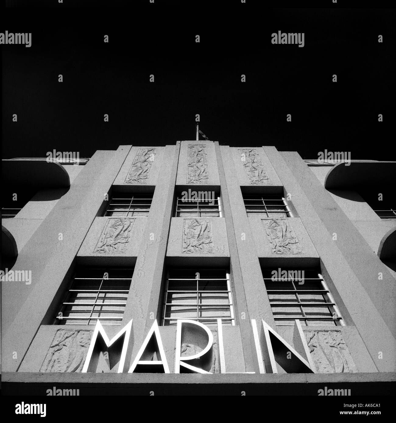 Facade of the Marlin hotel in Miami s South Beach Art Deco District Stock Foto