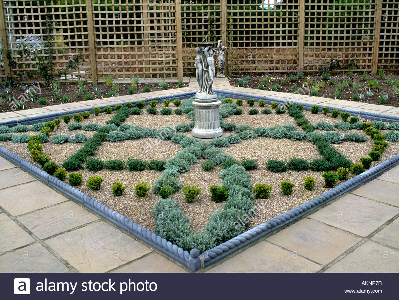 Newly Built Planted Small Herb Garden With Knot Design Of
