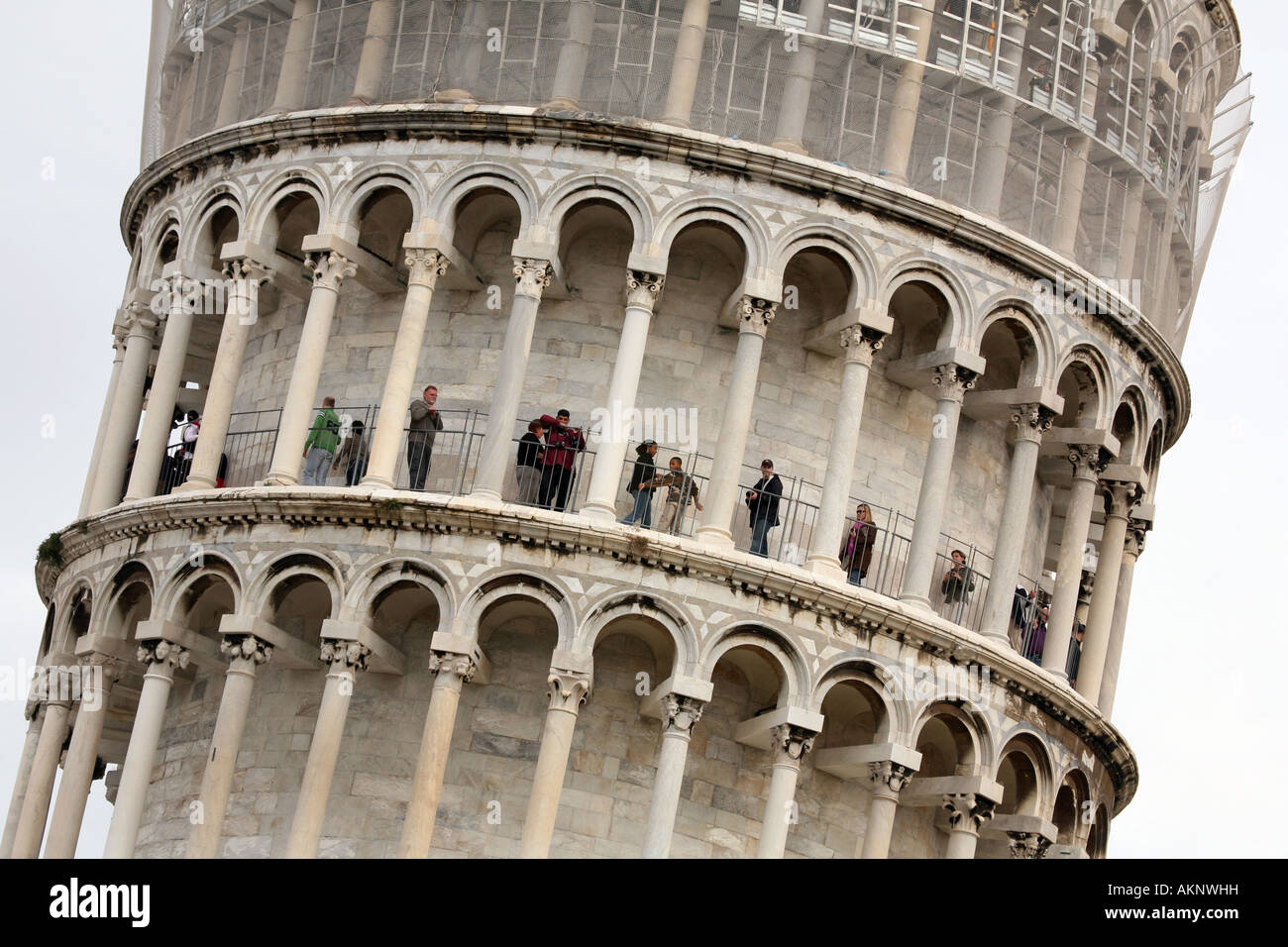 Tourists Climb The Leaning Tower Of Pisa, Pisa, Italy