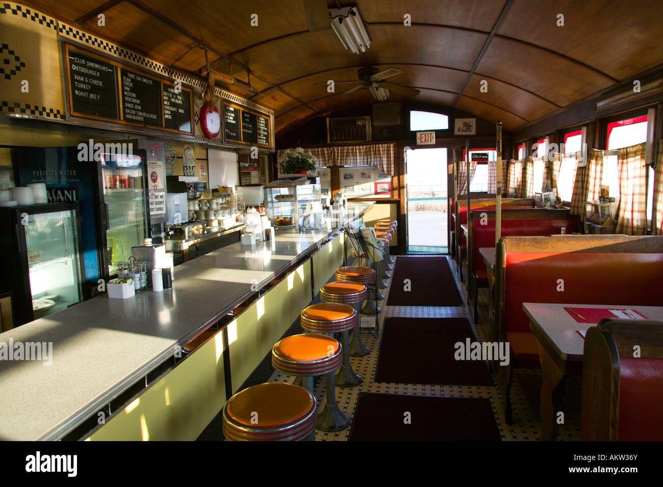 Interior of vintage diner restaurant stock photo royalty