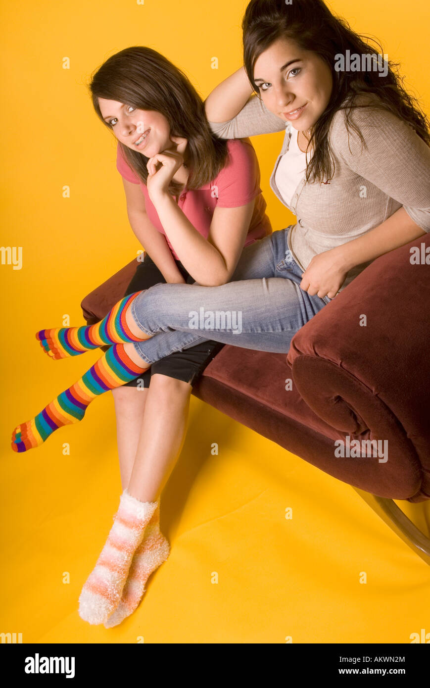 Two Teen Girls (15-17) Wearing Colorful Mismatched Socks ...
