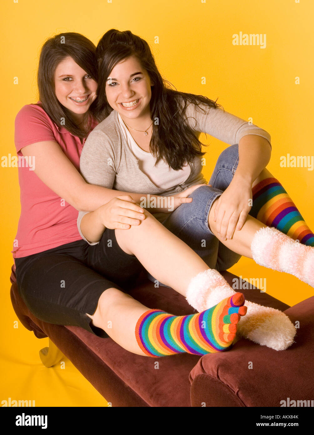 Colorful Teen Stock Image Image Of Lipstick Portrait: Two Teen Girls (15-17) Wearing Colorful Mismatched Socks