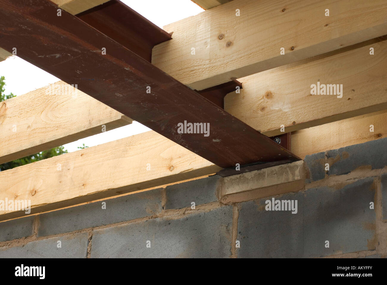 Wooden Roof Joists And Steel Joist Stock Photo Royalty