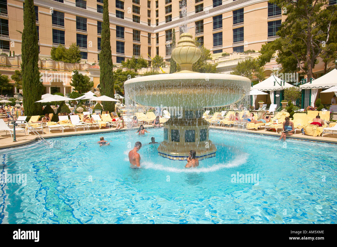 Large Swimming Pool With Swimmers At Bellagio Casino In Las Vegas Nv Stock Photo Royalty Free