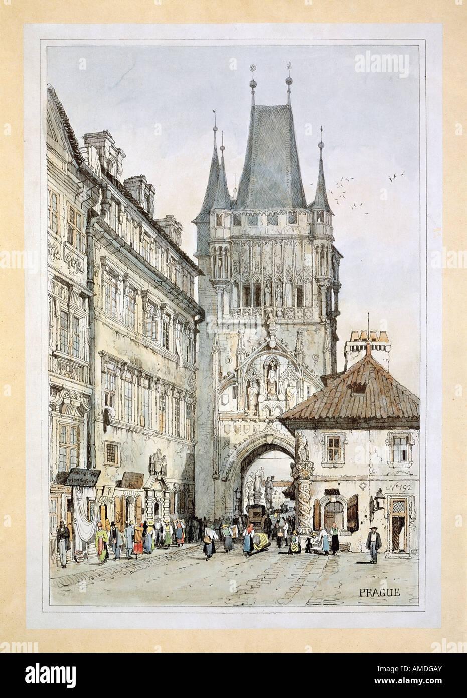 fine arts, Morstadt, Vinzenz (1802 - 1875), views of Prague: Tower of Charles Bridge, colour lithograph, 19th century, Stock Photo