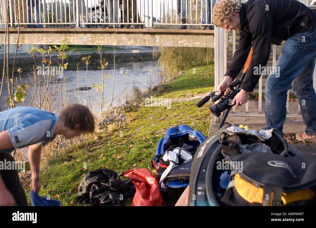 Doug Blane Tim Emmett extreme sports athlete filming at the Kendal Mountain Film Adventure Film Academy Stock Photo