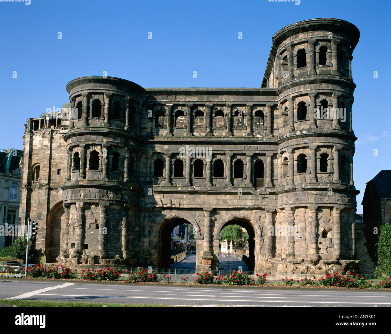 The Black Gate (Porta Nigra), Trier, Rhineland / Mosel Valley, Germany Stock Photo