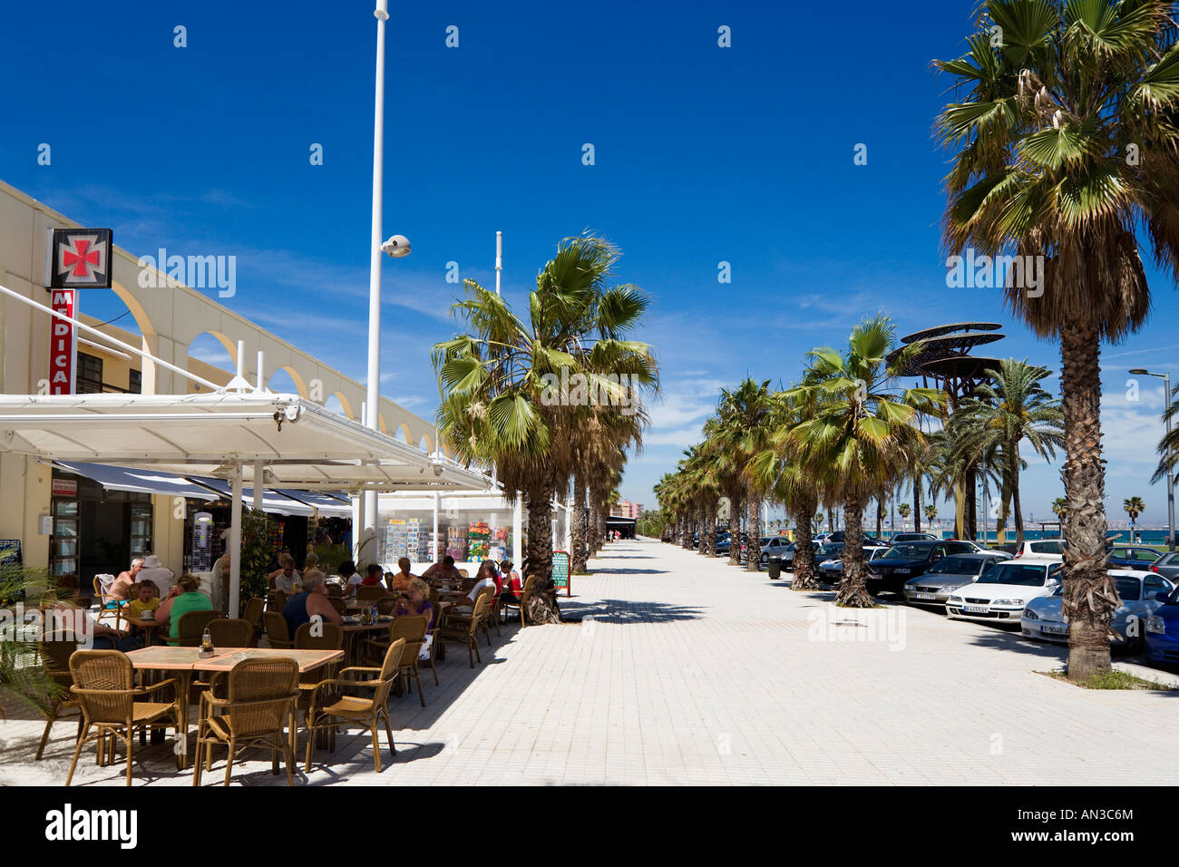 beachfront restaurant la pineda near salou costa dorada spain stock photo royalty free. Black Bedroom Furniture Sets. Home Design Ideas
