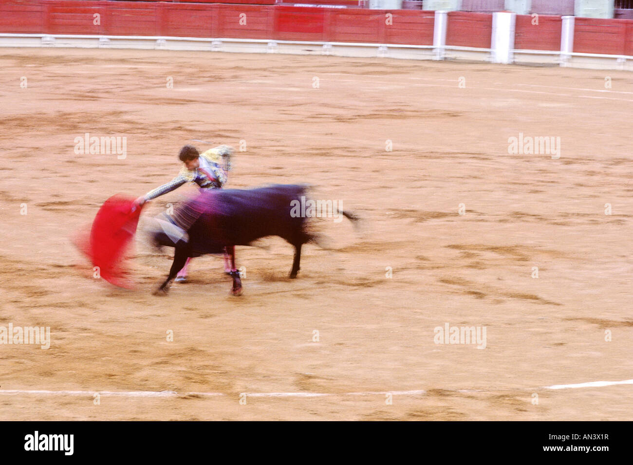 bullfighter-makes-a-pass-in-the-ring-in-