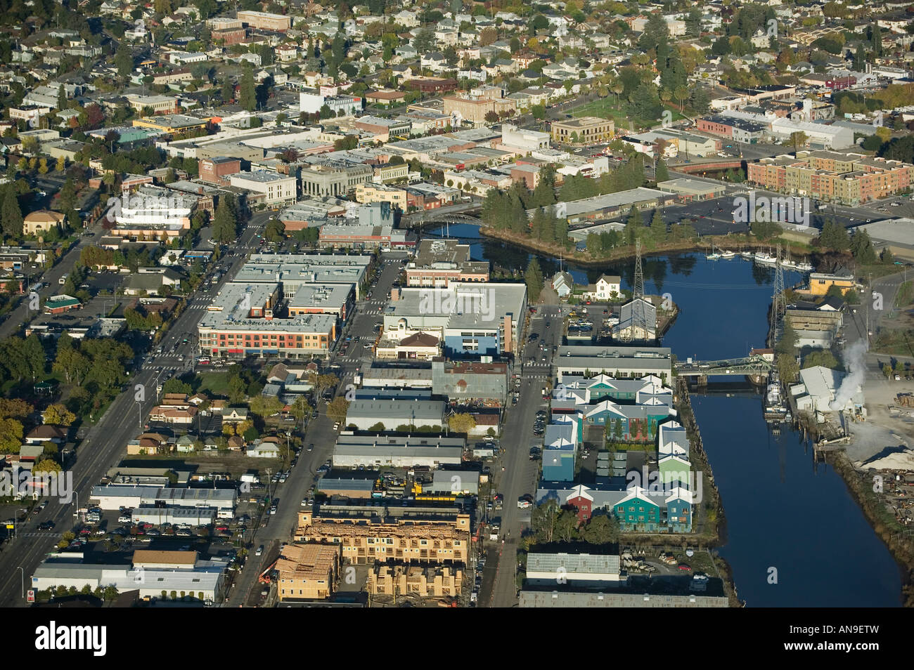 aerial Petaluma California Sonoma county Petaluma river turning basin theater district Stock Photo