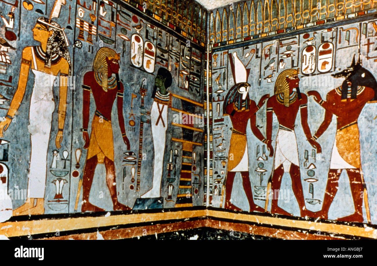 Luxor egypt paintings tomb of ramses i stock photo for Egyptian mural art