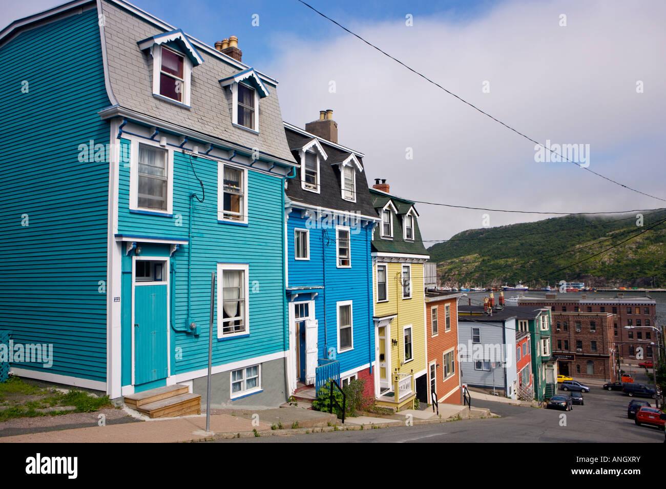 Jelly Bean Row >> The charming houses in downtown St John's (aka Jelly Bean Row), St Stock Photo, Royalty Free ...