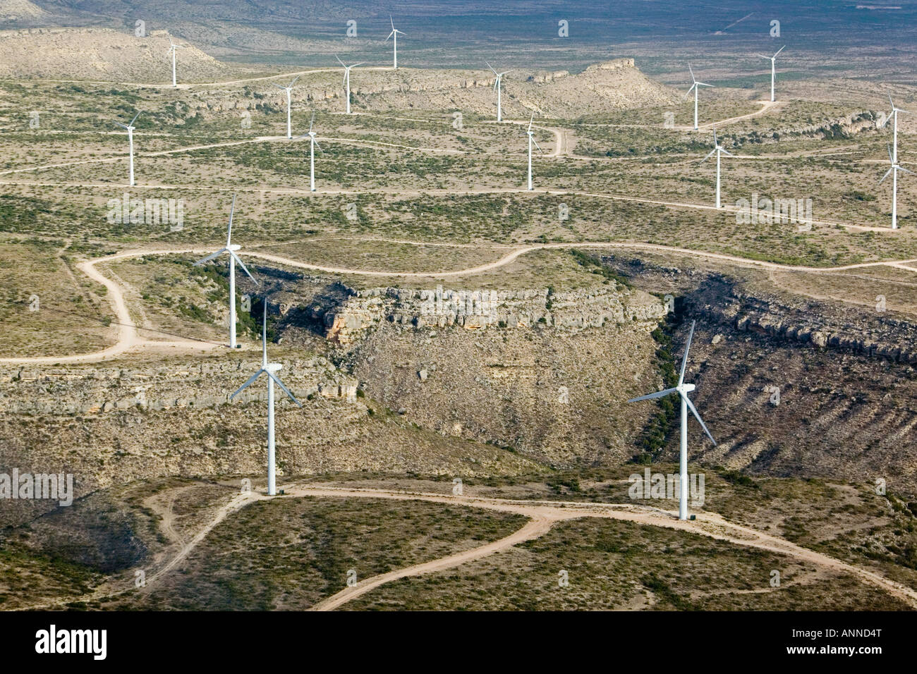 aerial above wind turbines in west Texas; Texas is the largest producer of wind generated power in the United States Stock Photo