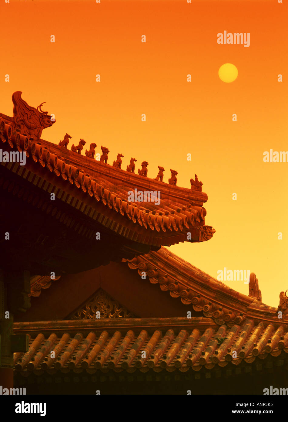 Low angle view of the roof of a Chinese temple Stock Foto