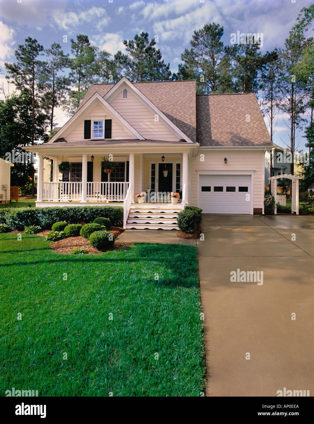 Small Two Story House Design: Small Two Story Cream House With Black Shutters White Trim