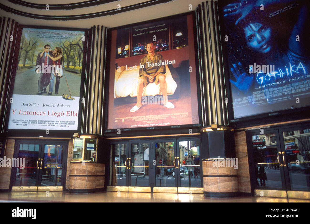 spanish language movie posters at a theater on gran via in