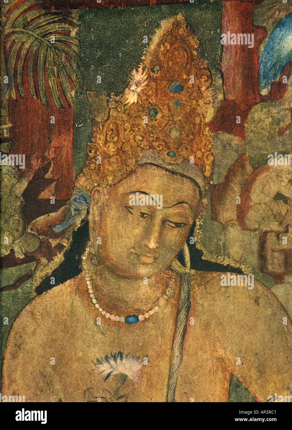 Art fresco ajanta caves indian buddhist wall painting for Ajanta mural painting