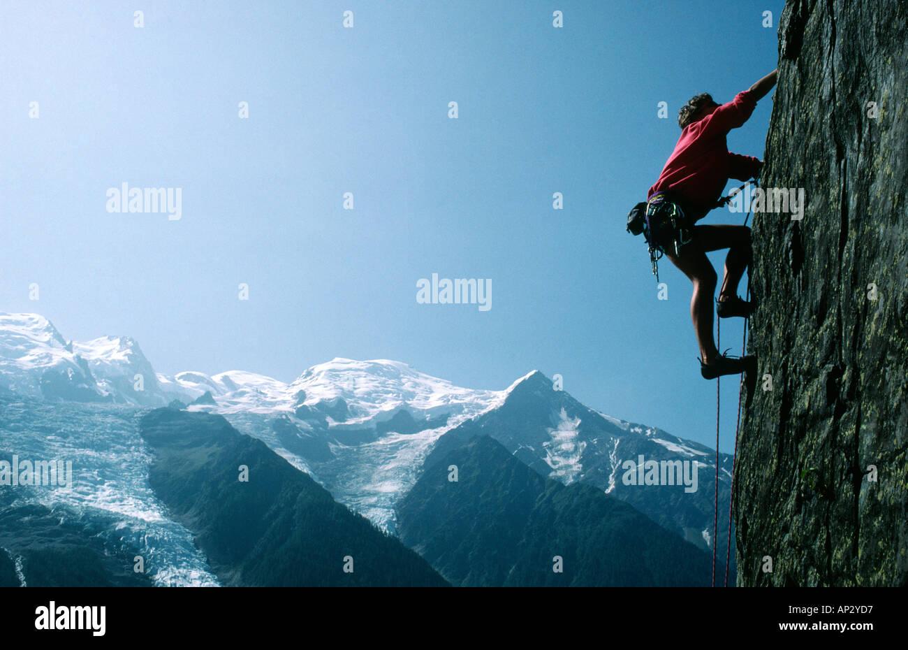PICTURE CREDIT DOUG BLANE Edd Gdula rock climbing at Les Gaillands Massif du Mont Blanc Chamonix France Stock Photo