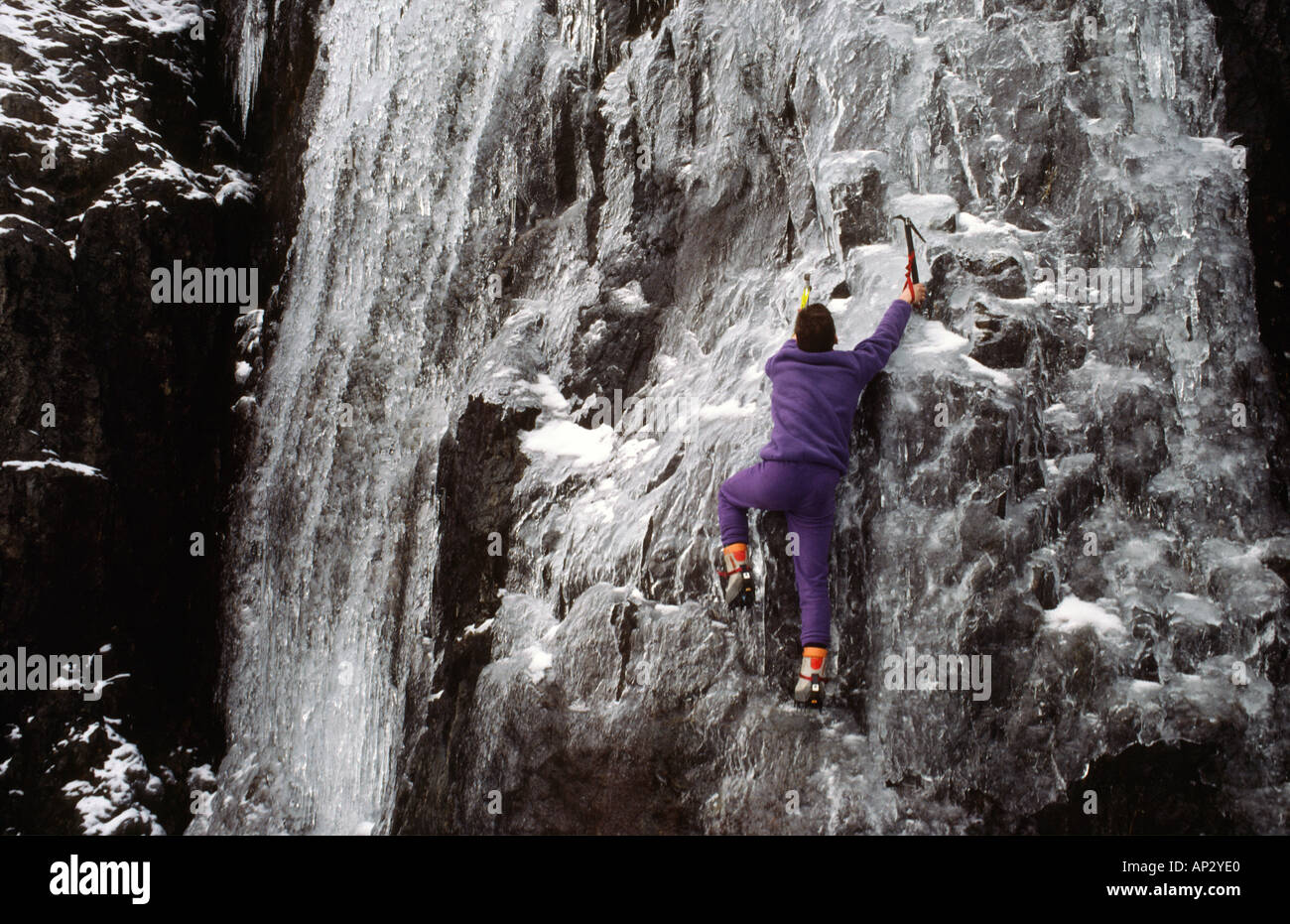 ice climber Sam Wellend Ice climbing in Snowdonia National Park North Wales Great Britain Stock Photo