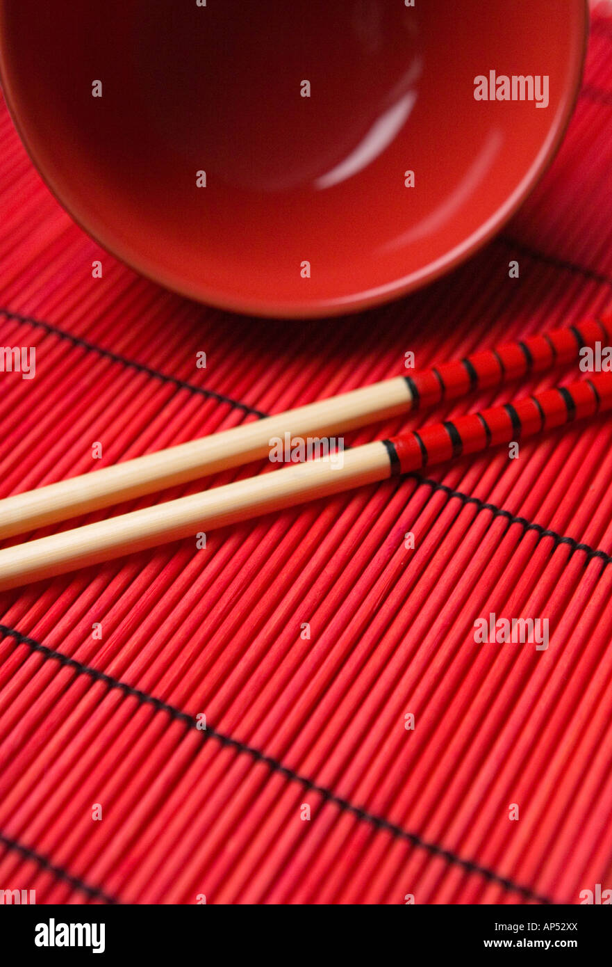 Bowl And Chopstick On Red Mat Stock Photo Royalty Free