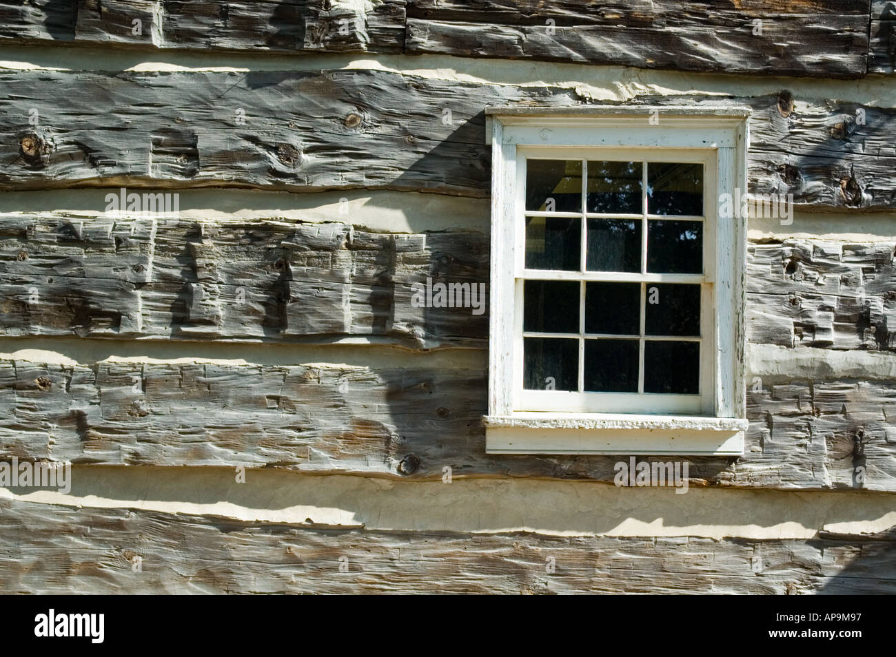 Windows In Old Log Cabin Stock Photo Royalty Free Image