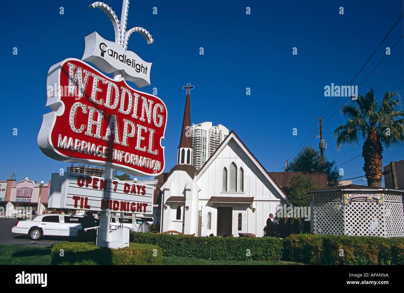 Candlelight Wedding Chapel Las Vegas Nevada Usa Stock