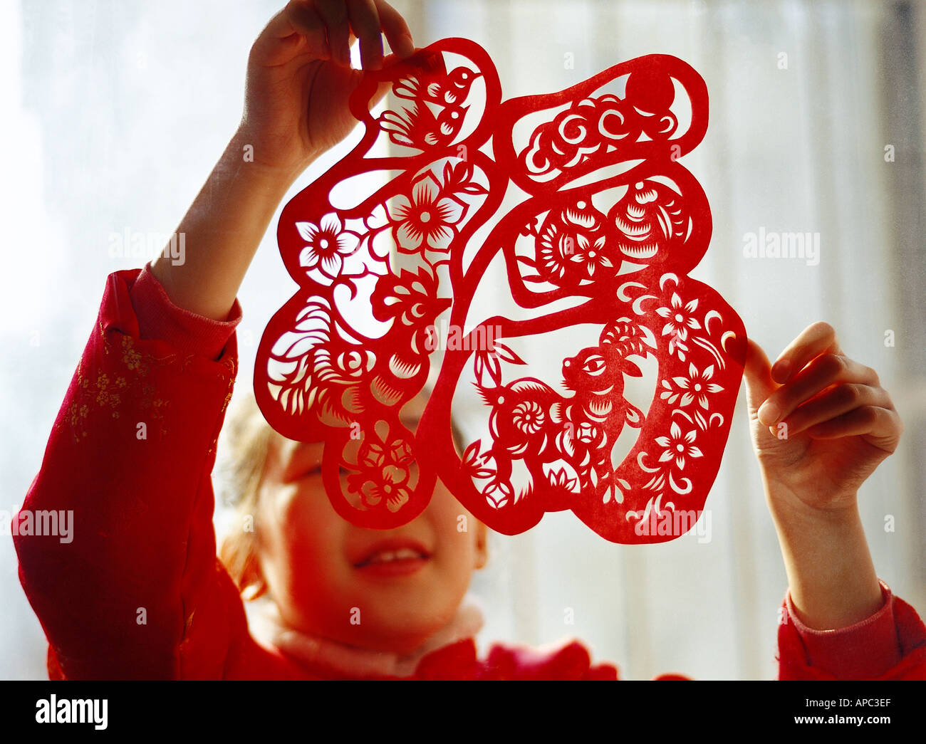 a Chinese 9 10 year old girl pasting a window paper cut on Chinese new year s eve Stock Foto