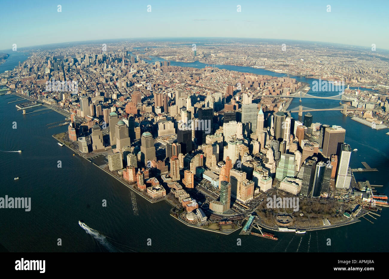 aerial above New York city Manhattan island with Hudson and East rivers Stock Photo