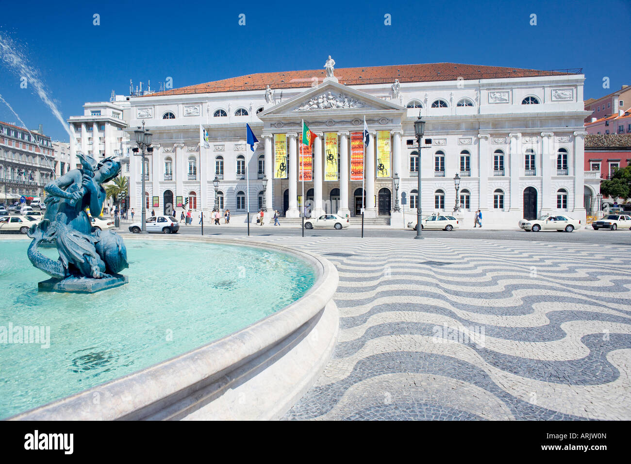 Praca Dom Pedro Iv Rossio Square And Lisbon Opera House Lisbon Stock Photo Royalty Free